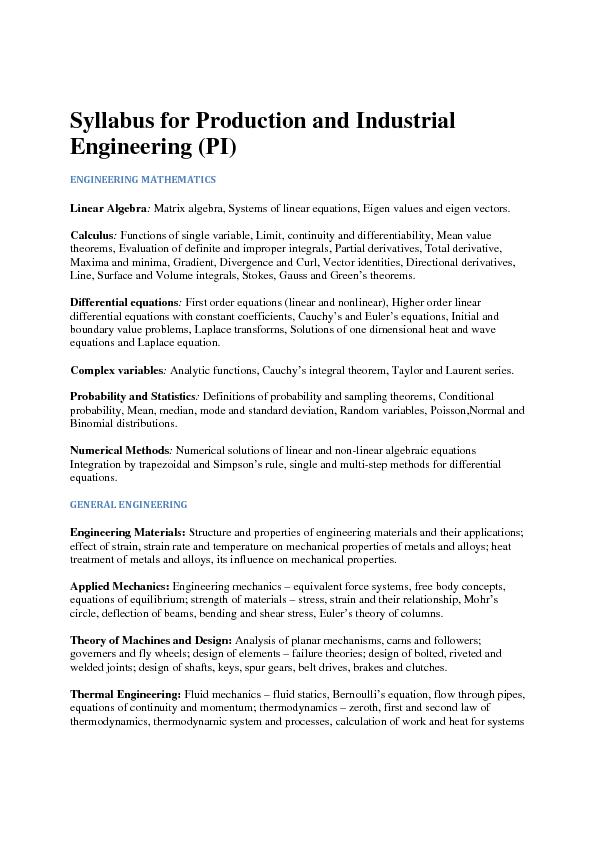 Syllabus for Production and Industrial ENGINEERINGMATHEMATICSLinear Al