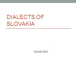 Dialects of Slovakia