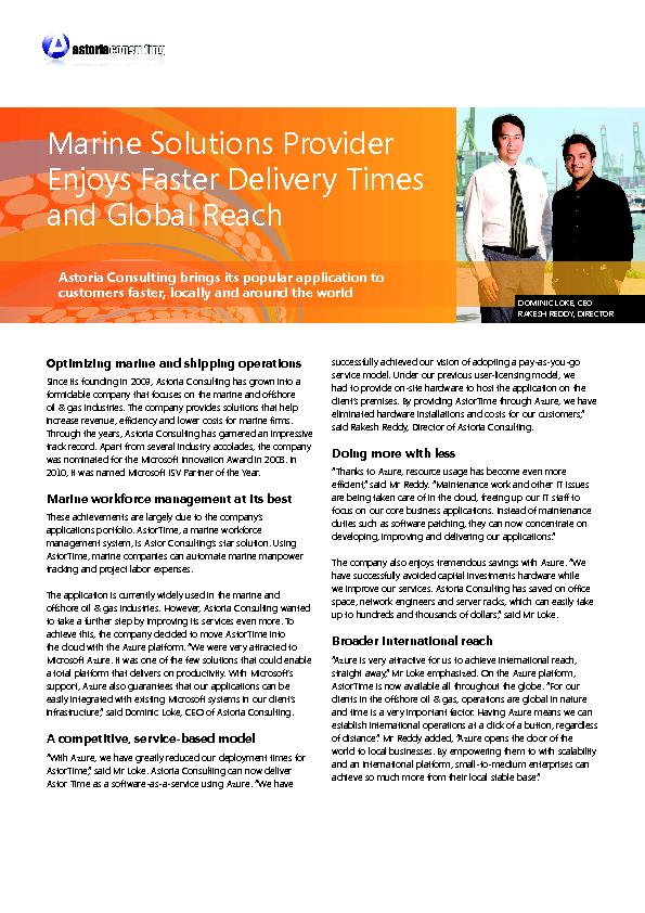 Marine Solutions Provider Enjoys Faster Delivery Times Since its found PowerPoint PPT Presentation