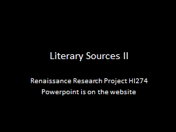 Literary Sources II