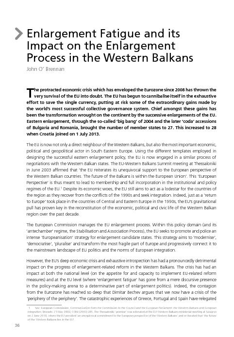 Process in the Western BalkansJohn O' Brennanhe protracted econom