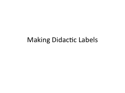 Making Didactic Labels