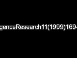JournalofArticialIntelligenceResearch11(1999)169-198Submitted1/99;pub