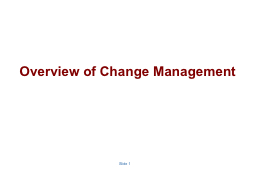 Overview of Change Management PowerPoint PPT Presentation