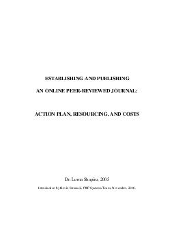 ESTABLISHING AND PUBLISHING AN ONLINE PEER-REVIEWED JOURNAL: ACTION PL