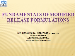 FUNDAMENTALS OF MODIFIED RELEASE FORMULATIONS