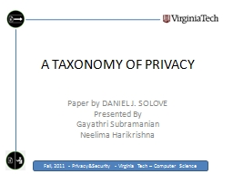 A TAXONOMY OF PRIVACY PowerPoint PPT Presentation