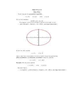 Maple Pro ject olar Plots plot in maple the parametric equations with a yp the command plotft gt ta