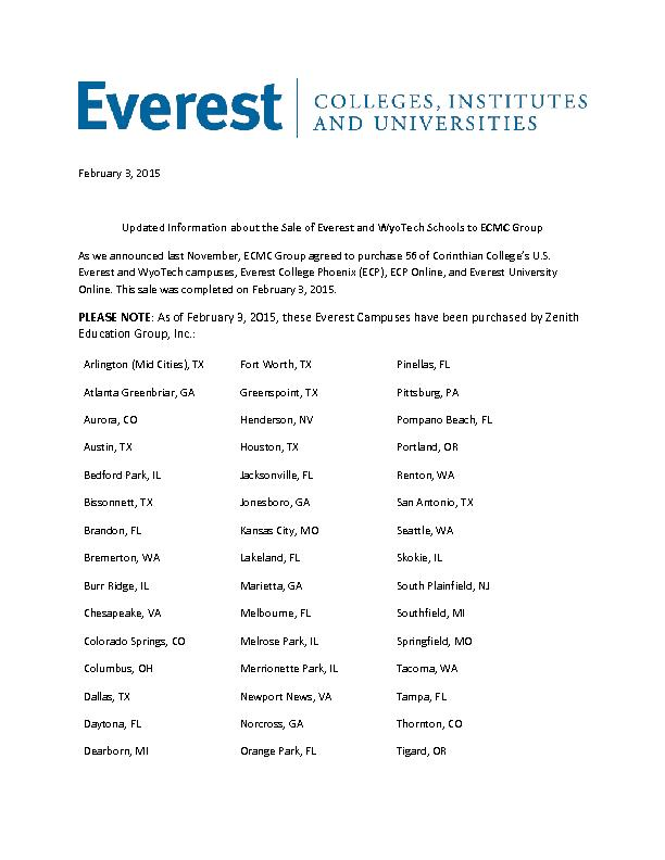 Updated Information about the Sale of Everest and WyoTech Schools to E