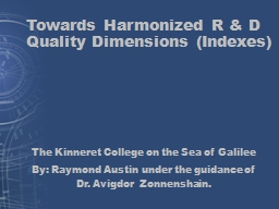 Towards Harmonized R & D Quality Dimensions (Indexes) PowerPoint PPT Presentation