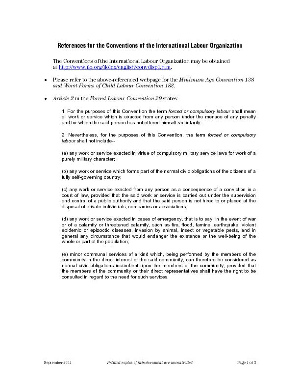 References for the Conventions of the International Labour Organizatio