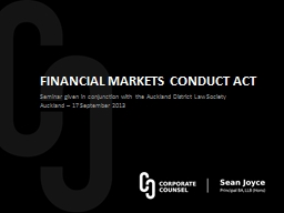 FINANCIAL MARKETS CONDUCT