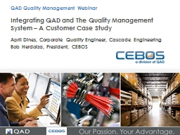Integrating QAD and The Quality Management