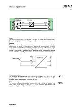 Design The position signal module is clipped onto a mounting rail