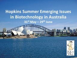 Hopkins Summer Emerging Issues in Biotechnology in