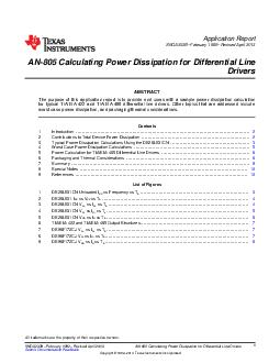 Application Report SNOAB February  Revised April  AN Calculating Power Dissipation for Differential Line Drivers ABSTRACT The purpose of this application report is to provide end users with sample po