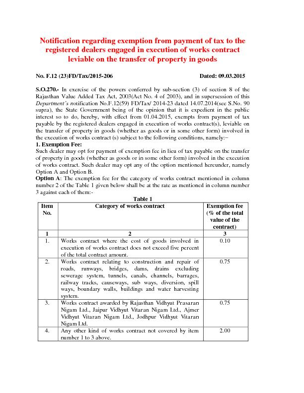 Notification regarding exemption from payment of tax to the PowerPoint PPT Presentation