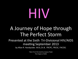 HIV A Journey of Hope through