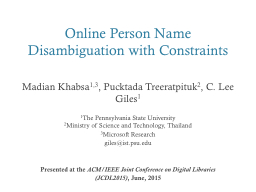 Online Person Name Disambiguation with Constraints