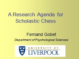 A Research Agenda for Scholastic Chess PowerPoint PPT Presentation