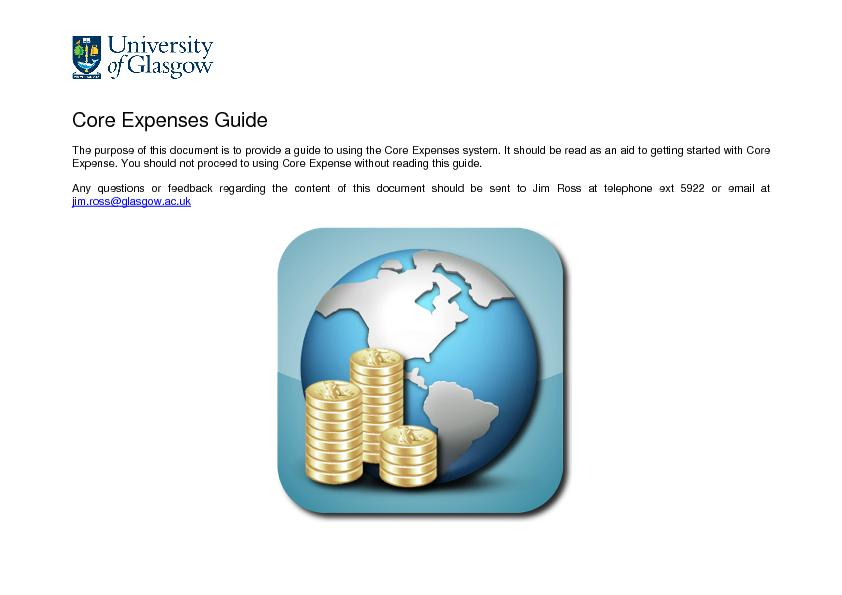 Core Expenses Guide The purpose of this document is to provide a guide
