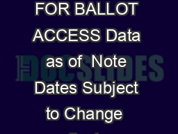 CONGRESSIONAL PRIMARY ELECTION DATES AND CANDIDATE FILING DEADLINES FOR BALLOT ACCESS Data as of  Note Dates Subject to Change  ndicates Senate Election  General Election Date  STATE CONGRESSIONAL P
