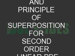 CLASSIFICATION AND PRINCIPLE OF SUPERPOSITION FOR SECOND ORDER LINEAR PDE PowerPoint PPT Presentation