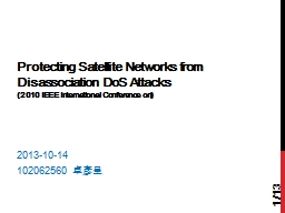 Protecting Satellite Networks from Disassociation PowerPoint PPT Presentation