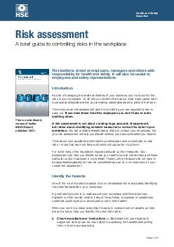 Health and Safety Executive Page  of  This leaflet is aimed at employers managers and others with responsibility for health and safety