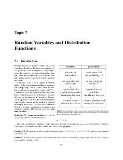 Topic  Random Variables and Distribution Functions