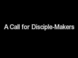 A Call for Disciple-Makers