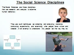 The Social Science Disciplines