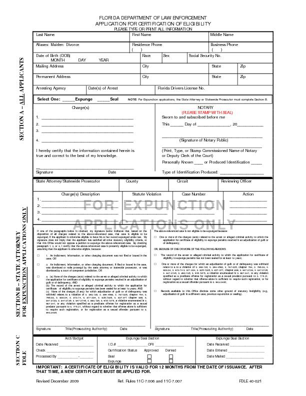 FLORIDA DEPARTMENT OF LAW ENFORCEMENT APPLICATION FOR CERTIFICATION OF