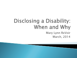 Disclosing a Disability: PowerPoint PPT Presentation