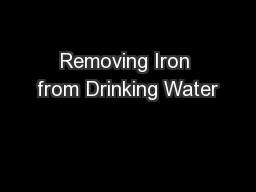 Removing Iron from Drinking Water