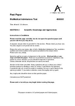 Past Paper BioMedical Admissions Test  Time allowed  minutes SECTION  Scientific