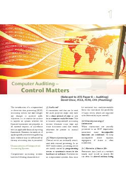 Relevant to ATE Paper   Auditing David Chow FCCA FCPA CPA Practising Computer Auditing Control Matters The introduction of a computerized or electronic data processing EDP accounting system has not b
