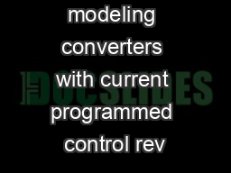Approaches to modeling converters with current programmed control rev