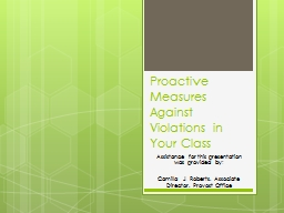 Proactive Measures Against Violations in Your Class