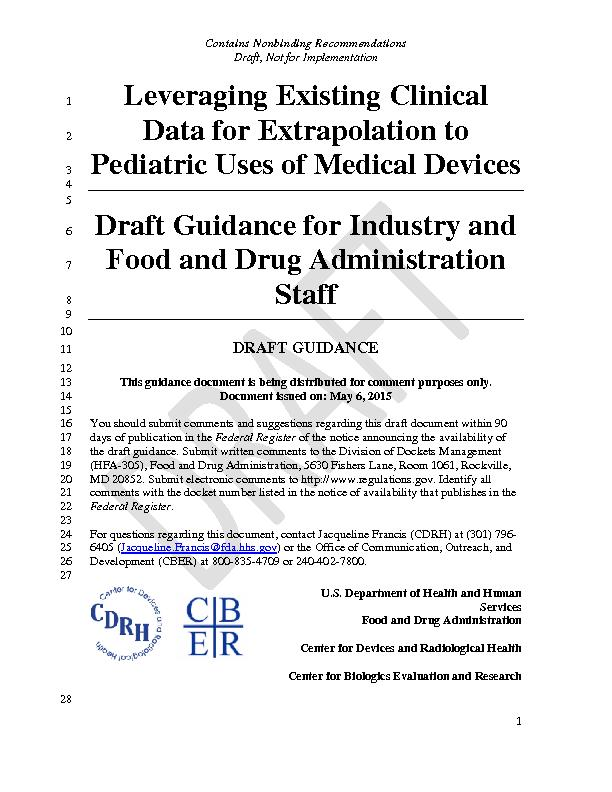 Draft Guidance for Industry and Food and Drug Administration Staff ...