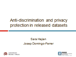 Anti-discrimination and privacy protection in released data
