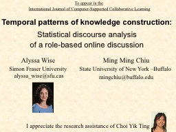 Temporal patterns of knowledge construction: