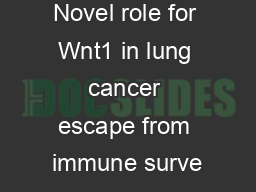 Novel role for Wnt1 in lung cancer escape from immune surve