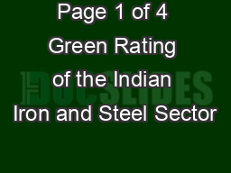 Page 1 of 4 Green Rating of the Indian Iron and Steel Sector
