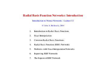 Radial Basis Function Networks Introduction Introduction to Neural Networks  Lecture   John A