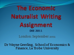 The Economic Naturalist Writing Assignment PowerPoint PPT Presentation
