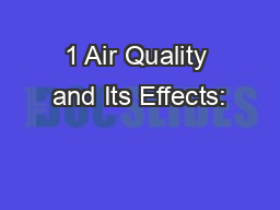 1 Air Quality and Its Effects: