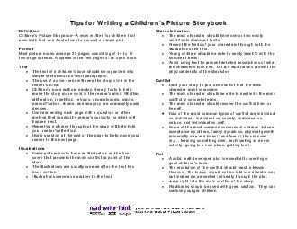 Tips for Writing a Childrens Picture Storybook Definiti on ildren s Pict e St or