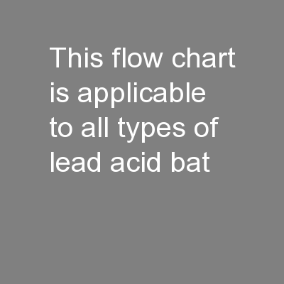 This flow chart is applicable to all types of lead acid bat