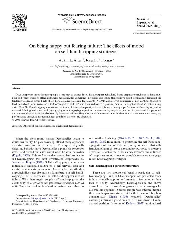 A.L. Alter, J.P. Forgas / Journal of Experimental Social Psychology 43